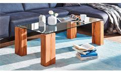 Couchtisch TI-0036 Tisch rechteckig Wildeiche natur geölt und Glasplatte Klarglas