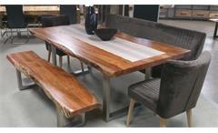 Esstischgruppe Madras Massivholz Esstisch und 2 Bänke Akazie mit Baumkante
