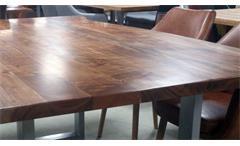 Tisch Kerala Massivholz Esstisch 200x100 cm Akazie Baumkante Gestell alufarbig