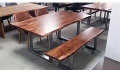 Tisch Kerala Massivholz Esstisch 220x100 cm Akazie Baumkante Gestell alufarbig
