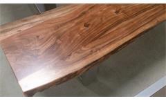 Bank Kerala Massivholz Sitzbank 220x38 cm Akazie Baumkante Gestell alufarbig