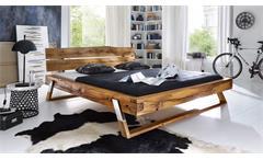 Balkenbett GOJO Bett in Wildeiche massiv geölt Füße Edelstahl 180x200