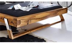 Balkenbett Gojo Doppelbett Bett in Wildeiche massiv geölt Füße Edelstahl 180x200