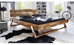 Bett BE-0276 Balkenbett Doppelbett aus Wildeiche Massivholz 180x200 Edelstahl