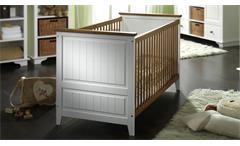 Babybett GIULIA Gitterbett in Kiefer weiß massiv und honigfarben Babyzimmer