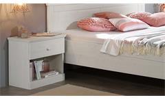 Schlafzimmer Genia Komplettset Kiefer massiv weiß gewachst 4-teilig Landhausstil