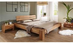 Balkenbett Bett Massivholzbett Wildeiche massiv geölt Kopfteil Baumkante 180x200