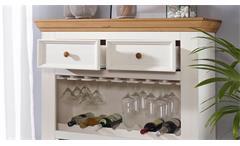 Barschrank WZ-0133 Highboard Kiefer massiv weiß gewachst und Eiche Landhausstil