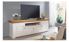 Lowboard 1 Glora TV-Board HiFi Kiefer massiv weiß gewachst Eiche Landhausstil