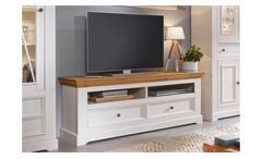 Lowboard 2 Glora TV-Board HiFi Kiefer massiv weiß gewachst Eiche Landhausstil