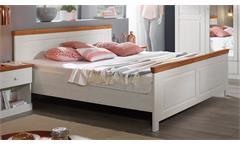 Bett Genia Bettgestell Doppelbett Kiefer massiv weiß Honig 180x200 Landhausstil