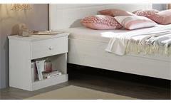 Nachtkommode Genia Massivholz Kiefer Landhausstil Nachttisch weiß gewachst