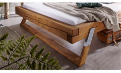 Balkenbett Gojo Doppelbett Bett Fichte massiv eichefarbig Füße Alu Lack 180x200