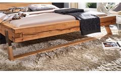Balkenbett Gojo Doppelbett Bett in Wildbuche massiv geölt Füße Edelstahl 180x200