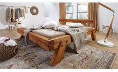 Balkenbett GENJI Doppelbett Bett in Wildbuche massiv geölt 180x200 cm