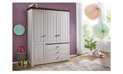 Kleiderschrank JOLINA Kiefer massiv weiß grau soft-close Landhausstil
