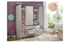 Kleiderschrank Jolina Schrank in Kiefer massiv weiß grau soft-close Landhausstil