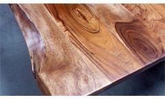 Massivholz Esstisch Kerala Akazie 180x90 Baumkante Gestell schwarz