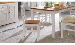 Essgruppe Glora Landhaus Tisch und 6 Stühle Kiefer massiv weiß gewachst