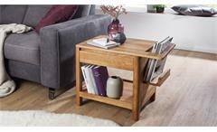 Beistelltisch KM-0240 Tisch mit Zeitungsständer Wildeiche massiv geölt 70x50 cm