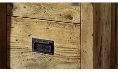 Vitrine Gingo lackiertes Mangoholz Eisen rustikaler Look mit Glas Rolltür