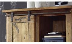 Highboard GINGO Mangoholz lackiert Eisen rustikal Rolltür 4 Schubkästen