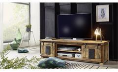 Lowboard Gingo Mangoholz lackiert Eisen rustikal TV-Board 2 Rolltüren 180 cm