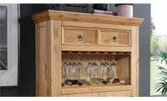 Barschrank Gaze Kiefer eichefarbig rustikal Holz Hausbar Weinschrank 2-türig