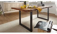 Esstisch 180x200 cm Tisch Gigi Akazie massiv Baumkante schwarz Esszimmertisch