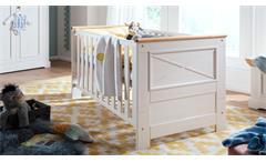 Babybett weiß 70x140 cm Galio Kinderbett Kiefer massiv eichefarbig Gitterbett