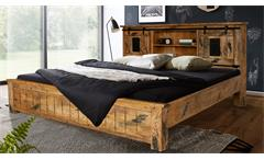 Bett 180x200 Mangoholz Doppelbett Gingo Massivholz lackiert rustikal Eisen grau