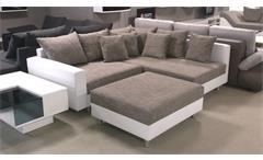 Ecksofa Claudia Wohnlandschaft Ottomane rechts Sofa mit Hocker weiß hellgrau