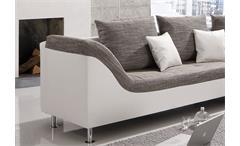 Ecksofa Philip Wohnlandschaft Couch Sofa mit Ottomane rechts weiß Stoff grau
