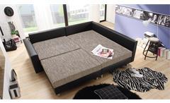 Ecksofa Claudia Wohnlandschaft Ottomane rechts Sofa mit Hocker schwarz graubeige