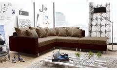 Ecksofa Claudia Wohnlandschaft Ottomane rechts Sofa mit Hocker braun