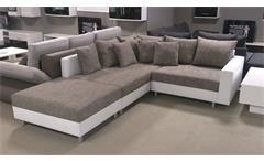 Ecksofa Claudia Wohnlandschaft Ottomane links Sofa mit Hocker weiß graubeige