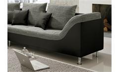 Ecksofa Philip Wohnlandschaft Couch Sofa mit Ottomane links schwarz Stoff grau