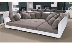 Wohnlandschaft Claudia XXL Ecksofa Couch Sofa mit Hocker weiß und graubeige