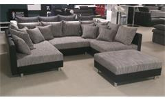 Wohnlandschaft Claudia XXL Ecksofa Couch Sofa mit Hocker schwarz und graubeige