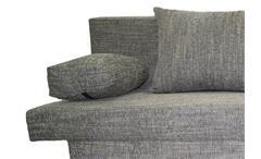 Schlafsofa Speed Funktionssofa Sofa in grau mit Kissen und Bettkasten