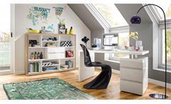 Schreibtisch Split Bürotisch mit Unterschrank in weiß Hochglanz lackiert