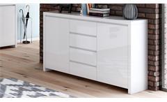 Sideboard 1 LARIO Wohnzimmer Schrank in weiß Hochglanz lackiert