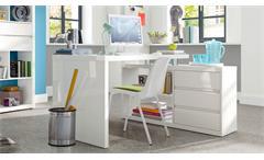 Eck-Schreibtisch Split Bürotisch mit Unterschrank in weiß Hochglanz lackiert