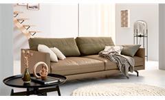 Hülsta Sofa von Rolf Benz 4-Sitzer 414 Leder beige Kissen Stoff grün 220 cm