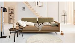 Hülsta-Sofa 4-Sitzer 414 Couch Leder beige inkl. Kissen Stoff olivgrün 220 cm