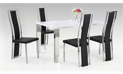 Tischgruppe Linea Ella Tisch weiß lackiert 4 Stühle schwarz Lederlook verchromt