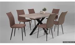 Tischgruppe MIAM & CLEO Essgruppe Esstisch Stuhl schlamm Beton schwarz
