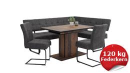 Essgruppe Tischgruppe 4-tlg. Luise Ariana anthrazit Oldwood Stoff 120-160x80 cm