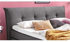 Boxspringbett Lexos Hotelbett Doppelbett Stoff anthrazit 7-Zonen-TTFK 180x200 cm
