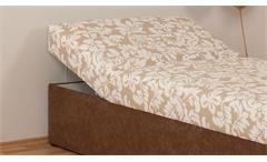 Polsterliege Tina in Stoff braun und beige Bonell-Federkern Bettkasten 90x200 cm